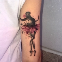 water color tattoo ballerina